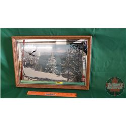 Framed Mirror Wall Clock (Winter Scene) (13-1/2 H x 19 W)
