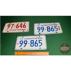 Saskatchewan Lic Plates (3): 1972 (Pair) & 1975