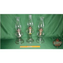 """Coal Oil Lamp Trio - Clear Glass (Tallest 19""""H w/Chimney)"""