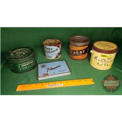 Tobacco Tins (5): Piper Heidsieck, Players, Picobac, Matinee & Saratoga