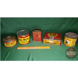 Tobacco Tins (5): Big Ben (2); Old Virginia, Worlds Navy & Archer