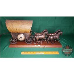 "Copper Horse Team & Wagon Mantle Clock/Lamp (10""H x 19""L)"
