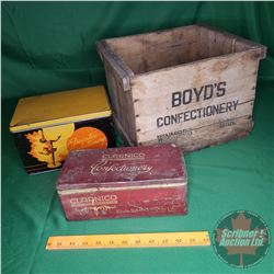 "Confectionery Trio: Wood Crate & 2 Tins (Crate = 10""H x 14""W x 12""D)"