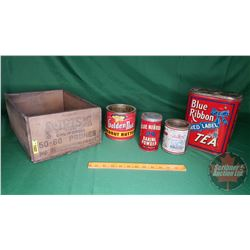 "Confectioner Tin Combo (4) & Wood Prunes Crate (Crate = 6""H x 9-1/2""W x 14""D)"