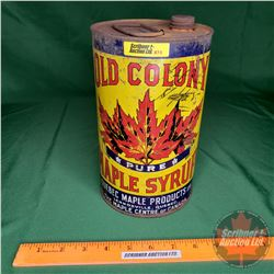 "Olds Colony Pure Maple Syrup Tin (9""H x 5-1/2""Dia)"