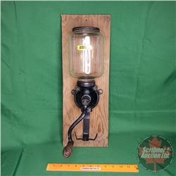 "Wall Mount ""Arcade"" Glass Coffee Grinder (Board 19-1/2""H Grinder 15""H)"