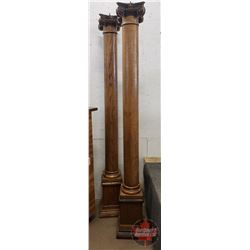 "Wooden Pillars (2) 76-1/2""H (11"" x 11"" Base) (3/8"" Bolt on Top) (See Pics)"