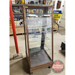 """Show Case (Wood & Glass) Sloped Front - Brass Footed - Glass Back - 4 Glass Shelves (5ft High x 25""""W"""