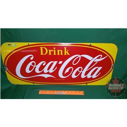 """""""Drink Coca-Cola"""" Single Sided Enamel Sign 1953 Made in Canada (12"""" x 29"""")"""