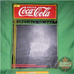 """Drink Coca-Cola"" Chalk Board Menu - Tin Sign ""Specials To-Day"" (27-1/2""H x 19""W)"