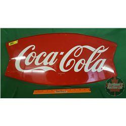 "Coca-Cola ""Fishtail"" Single Sided Tin Sign c.1960's (Mfg Mark: ""AM75"") (13""H x 26""W)"