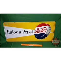 """Enjoy a Pepsi"" Pepsi-Cola Single Sided Enamel Sign (12"" x 29-1/2"") (Touched Up)"