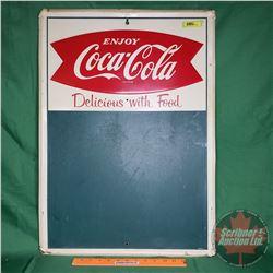 """Enjoy Coca-Cola"" ""Delicious With Food"" Tin Chalkboard Menu Board Fishtail ""AM33"" (28""H x 20""W)"