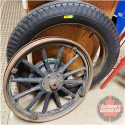 "Antique Tire on Rim 4.40/4.50-21 (32""Dia) & Wooden Spoke Wheel on Rim (24-1/2""Dia)"