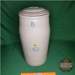 "Medalta Stoneware Ltd. 5 Gal Butter Churn w/Lid (not original Lid) (no Paddle) (21-1/2""H x 9""Dia) (N"
