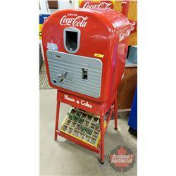 """""""Drink Coca-Cola"""" Vendolator 27 Vending Machine w/Yellow Wooden Bottle Crate & Bottles on Rack below"""