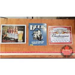 "Man Cave Beer Sign Trio - Single Sided Tin (See Pics) (All 12"" x 16"")"