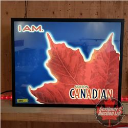 "Light up Beer Sign ""I AM Molson Canadian"" (16""H x 20""W x 4""D)"