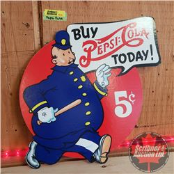 "Repro Pepsi-Pete Double Sided Sign Cardboard ""Buy Pepsi-Cola Today!"" (17-1/2"" x 11"")"