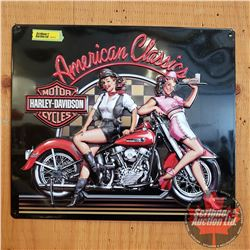 "Repro / Man Cave Sign Single Sided Tin (Embossed) ""Harley Davidson American Classics"" (13""x15"")"