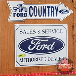 "Repro / Man Cave Signs Single Sided Tin (2): ""Ford Country"" Arrow (Embossed) (6"" x 20"") & ""Ford Sale"