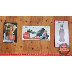 "Repro ""Coca-Cola"" Single Sided Tin Signs (3): Sprite Boy (12""x8"") & Girl (8-1/2""x16"") & Bottle (16"""