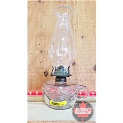 "Coal Oil Lamp: Peanut Pattern Finger Lamp (11""H Total Height w/Chimney)"