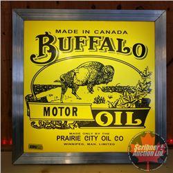 """Repurposed Light up Sign """"Buffalo Motor Oil"""" (Custom Lenses - Plastic) (18-1/2""""L x 18-1/2""""W x 4-1/2"""""""