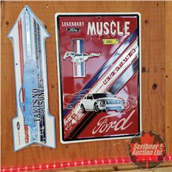 "Reproduction ""Ford Mustang"" Single Sided Tin Signs (Embossed) (2): Arrow (6""x20"") & ""Muscle"" (18""x12"