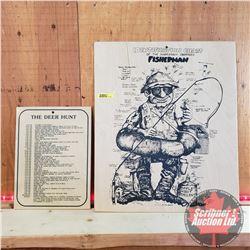 "Novelty Wooden Signs (2): ""Fisherman"" (19""x16"") & ""The Deer Hunt"" (11-3/4"" x 8-3/4"")"