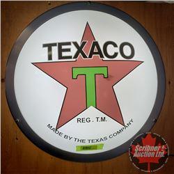 """Repurposed Light up Dome Sign """"Texaco"""" (Custom Lenses - Plastic) (18""""Dia x 3-1/2""""D)"""