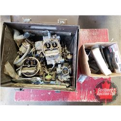 Variety of Engine Parts in Metal Box (Incl: 2 Motorcraft Carbs, VW Carb, Elec Fuel Pump & Differenti