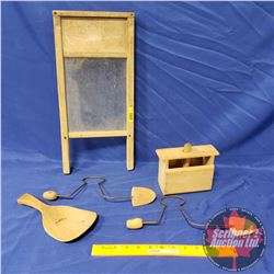 Collector Combo: Small Glass Washboard, Butter Press, Shoe Stretchers, Butter Paddle