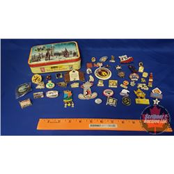 Toffee Tin with Pin Collection (Rodeo, Beer, Safeway, Lions Club, etc)