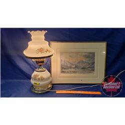"Electric Table Lamp & Glass Framed Watercolor ""Vanessa J. Schalter"" Landscape Scene with COA (17-1/2"