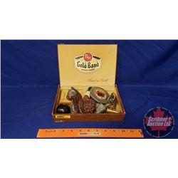 Gentleman's Collector Lot: Pipe, Watch, Razor, Cigar Package, Car Badges, Cigar Box, Shifter Knob, P