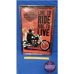 """Man Cave """"Harley Davidson Live to Ride Ride to Live"""" Single Sided Tin Sign (16""""W x 24""""H)"""