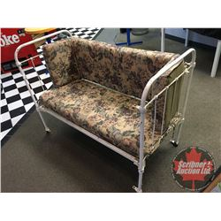 """Wrought Iron Antique Crib - Repurposed to Bench Seat (38""""H x 51""""W x 26""""D)"""