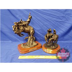 """Bronze Statues by Montana Silversmith (2): """"Two Trails Become One Road"""" (Missing Hand) (13""""x9"""") & """"I"""