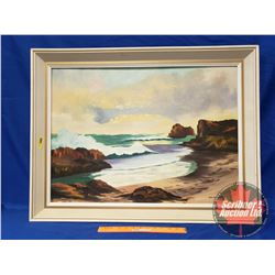 "Canvas Painting - Framed (Artist: Phillippe Boucher) Costal Scene (34""W x 36""H)"