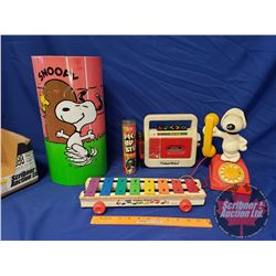 Vintage Children's Toy Collection (Incl: Snoopy Phone, Pick Up Stix, Xylophone, etc)