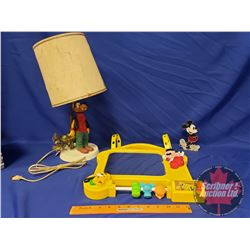 """Mickey Mouse Earring Holder, Crib Toy, Vintage Goofy """"Hobo"""" Lamp w/Shade"""