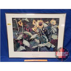 """Glass Framed Print """"Sunflowers"""" Kent K. Wallis (30""""W x 24""""H)"""