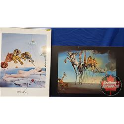 """Salvador Dali Prints (2): Glass Framed """"Dream Caused by Flight of Bee"""" (24""""x32"""") & """"The Temptation o"""