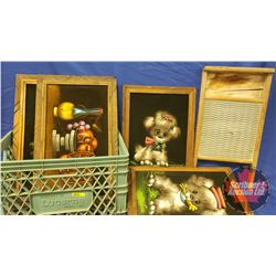 "Wood Framed Velvet Poster/Print Collection (5) + Wood/Metal Washboard (24""x12"")"