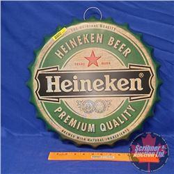 """Tin Sign """"Heineken"""" Bottle Cap (16""""Dia)"""
