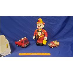 """Collector Trio: Buddy L Rescue Toy & Buddy L Truck & Blimpy the Clown Toy Robot by Newbright (13"""") W"""