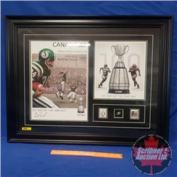 Framed Sask Roughriders 100th Grey Cup Limited Edition Print (247/300) Autographed with COA
