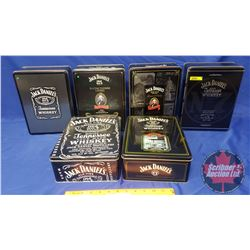 Jack Daniels Collector Tins (6) with Jack Daniels Drink Tumblers (9)