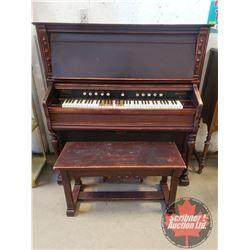 "KARN Pump Organ ""Woodstock, Canada"" (56""H x 55""W x 22""D) c/w Piano Bench"